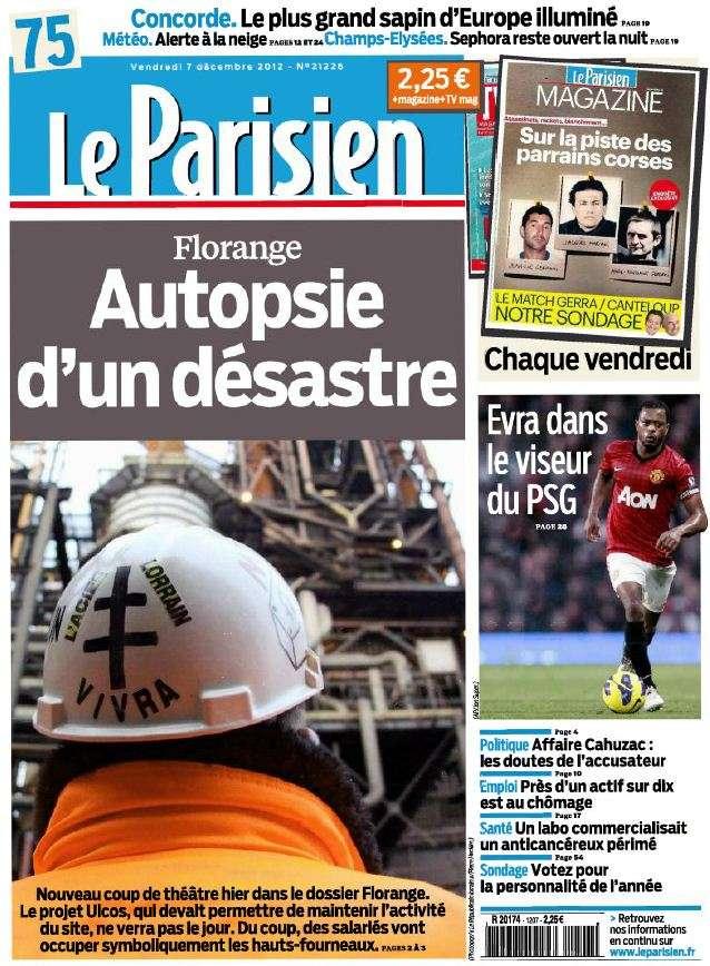 Le Parisien + Cahier Paris du Vendredi 7 Décembre 2012